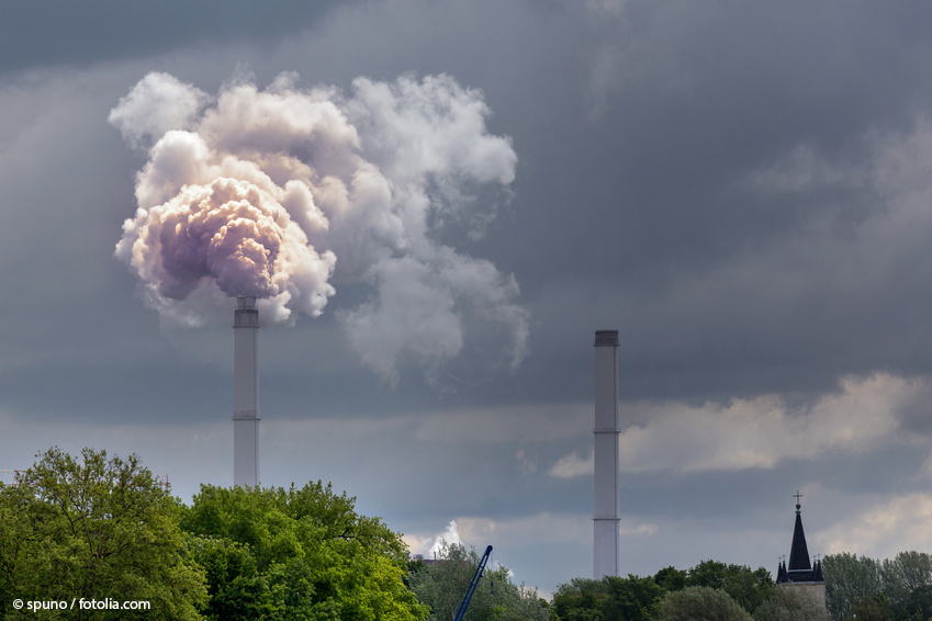 Smoking chimney as an example of the possible release of fullerenes during combustion processes.