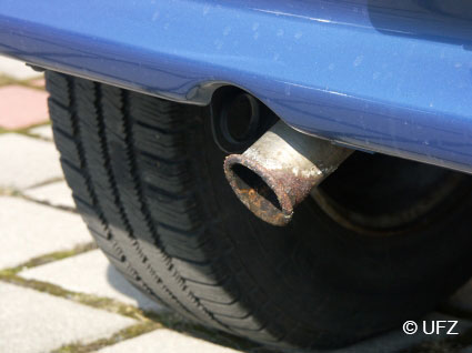 Close-up of an exhaust pipe as a possible source of cerium dioxide particles in car exhaust gases