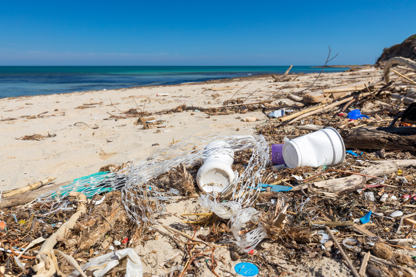 Plastic waste on the beach which can be fragmented to nanoplastic by the influence of sun, wind and waves © Christian Schwier / Fotolia.com