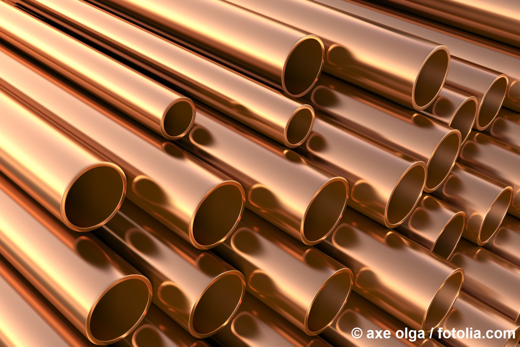staple of copper pipes as application example for copper