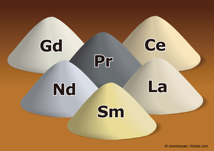 Schematic representation of the rare earth metals from left to right: gadolinium (Gd), cerium (Ce), promethium (Pr), neodymium (Nd), lanthanum (La), samarium (Sm).