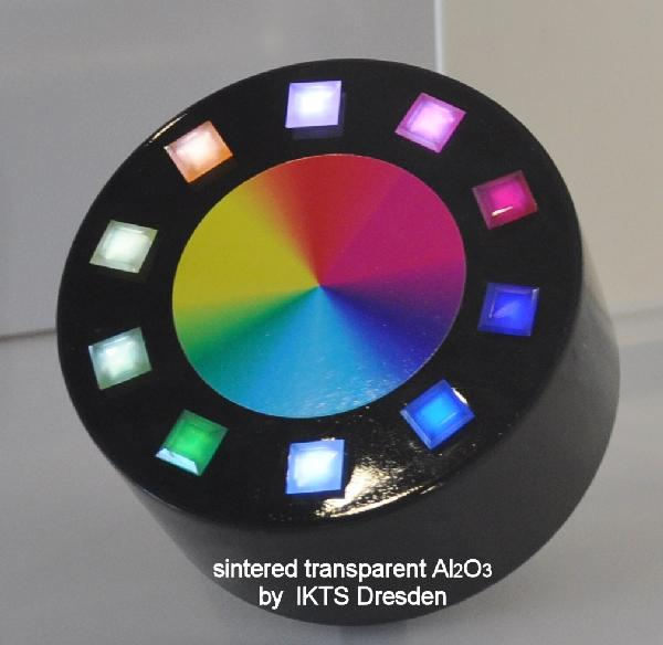 Small additions of foreign substances can make sintered corundum exhibit a broad spectrum of colors. © Dr. Andreas Krell, Fraunhofer IKTS
