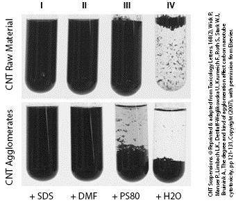 Different suspensions of carbon nanotubes.