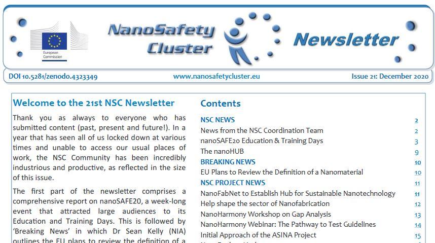 NanoSafetyCluster Newsletter 12/2020