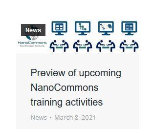 NanoCommons Screenshot Training Activities 2021